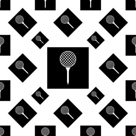 Golf Ball On Tee Icon Seamless Pattern Vector Art Illustration