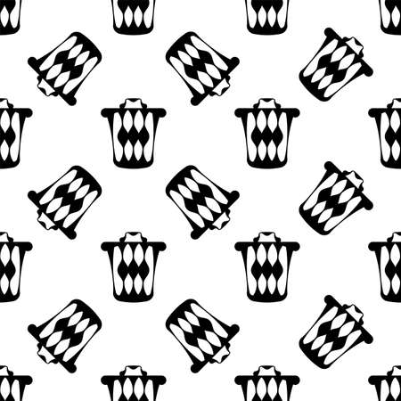 Trash Can Icon Seamless Pattern Vector Art Illustration  イラスト・ベクター素材
