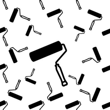 Paint Roller Icon Seamless Pattern Vector Art Illustration