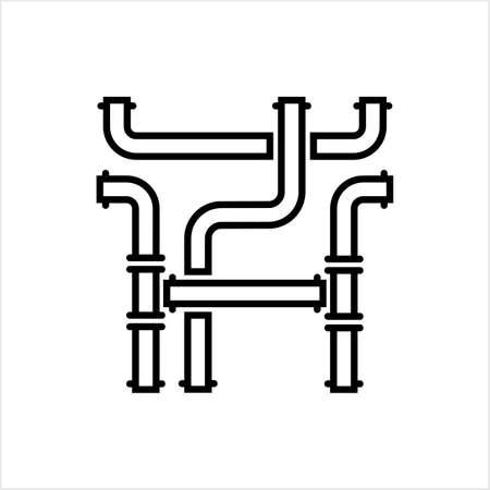 Icône de tuyau, icône de raccord de tuyau, eau, gaz, oléoduc, travaux de plomberie Vector Art Illustration