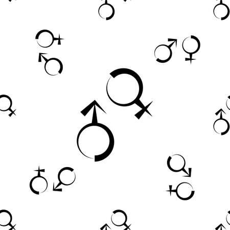 Icono de símbolo de género de patrones sin fisuras, icono de símbolo de sexo biológico masculino femenino ilustración de arte vectorial