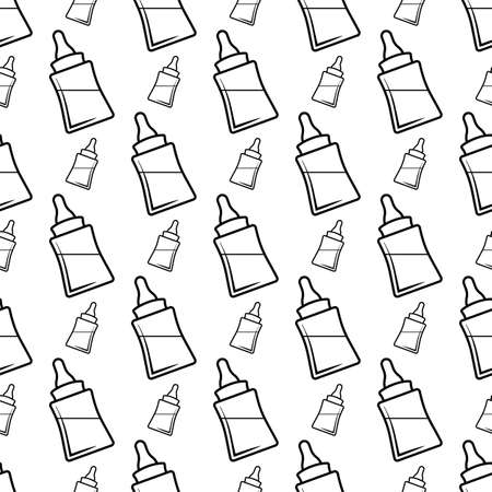 Baby Bottle Icon Seamless Pattern, Milk, Water Bottle Icon Vector Art Illustration