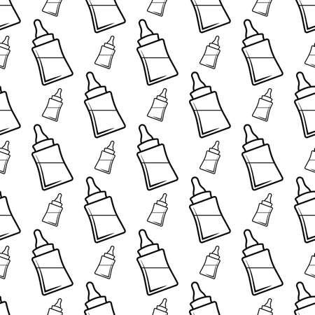 Baby Bottle Icon Seamless Pattern, Milk, Water Bottle Icon Vector Art Illustration