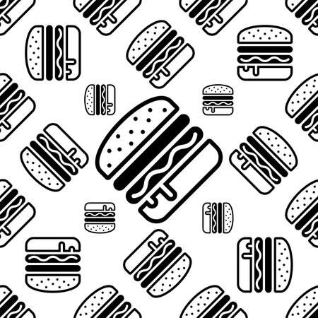 Burger Icon Seamless Pattern, Fast Food Burger Vector Art Illustration Illustration