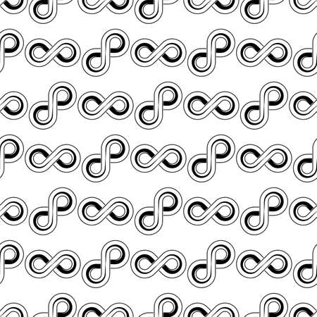 Infinity Sign Icon Seamless Pattern Vector Art Illustration