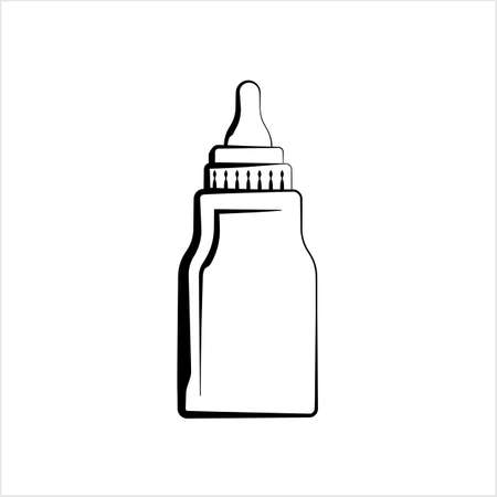 Baby Bottle Icon, Milk, Water Bottle Icon Vector Art Illustration 矢量图像