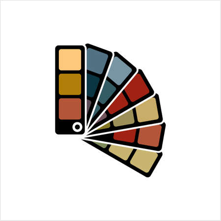 Color Sample Fan Card Icon Vector Art Illustration
