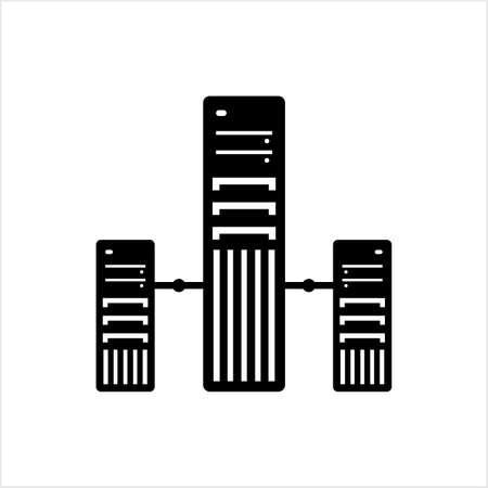 Computer Server Icon, Design Vector Art Illustration
