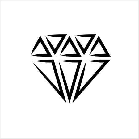 Diamond Icon, Diamond Cut Vector Art Illustration