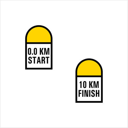 Milestone Icon, Road Side Distance Detail Stone Start Finish Vector Art Illustration Banco de Imagens - 111930573