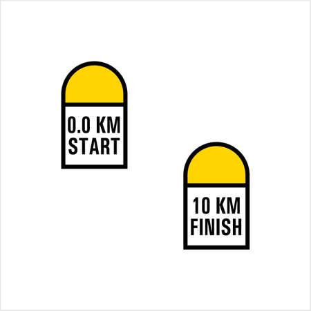 Milestone Icon, Road Side Distance Detail Stone Start Finish Vector Art Illustration