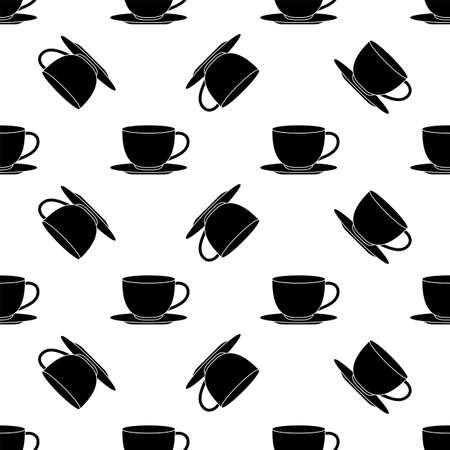 Tea Coffee Cup Seamless Pattern Vector Art Illustration