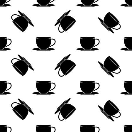 Tea Coffee Cup Seamless Pattern Vector Art Illustration