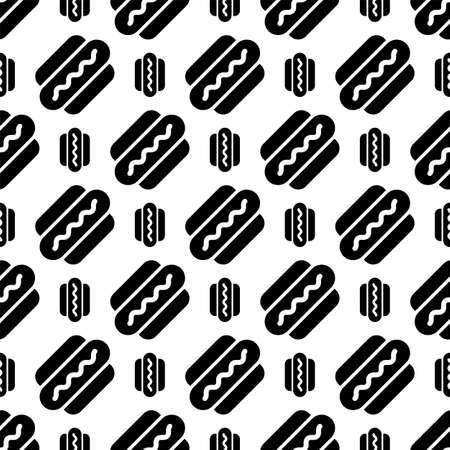 Hot Dog Icon Seamless Pattern Vector Art Illustration