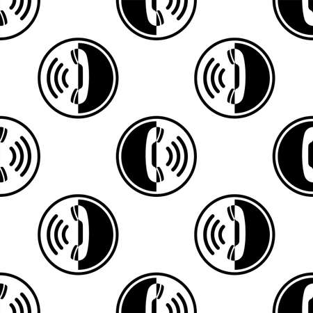 Telephone Receiver Icon Seamless Pattern Vector Art Illustration