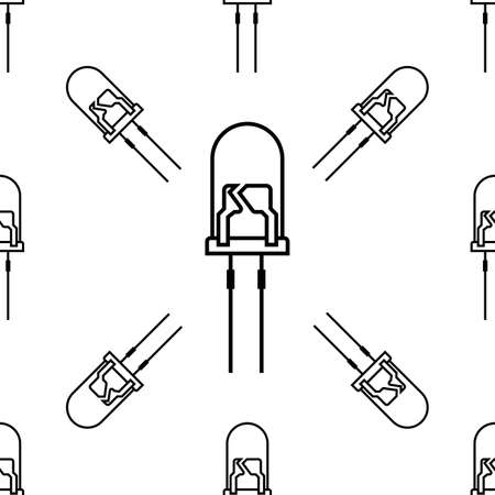 Led Icon Seamless Pattern, Light Emitting Diode Vector Art Illustration Vettoriali