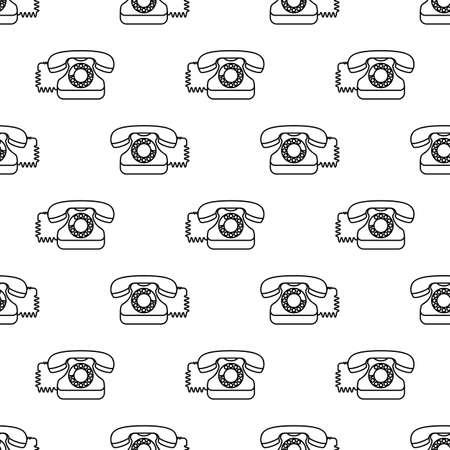 Telephone Icon, Phone Seamless Pattern Vector Art Illustration