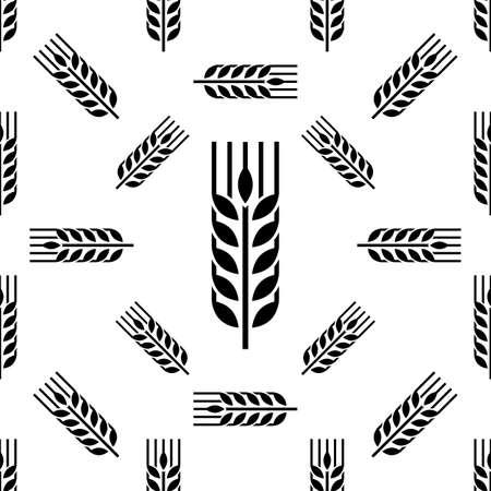 Illustrazione di arte vettoriale senza cuciture dell'icona di Spica dell'orecchio del grano
