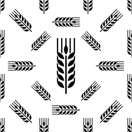 Wheat Ear Spica Icon Seamless Pattern Vector Art Illustration Illustration