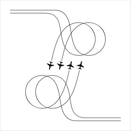 Formazione di volo dell'aeroplano, esposizione di spettacolo aereo, illustrazione di arte vettoriale di volo disciplinato
