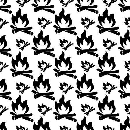Campfire Icon Seamless Pattern