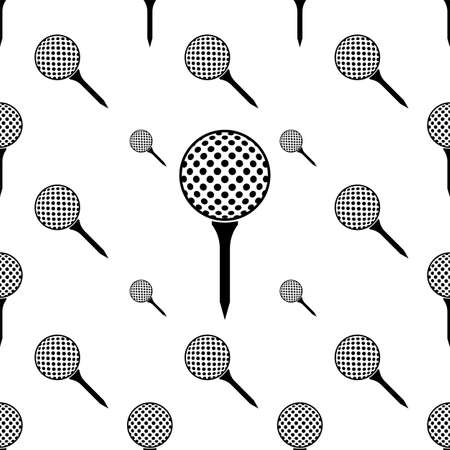 Golf Ball On Tee Icon Seamless Pattern Vector Art Illustration