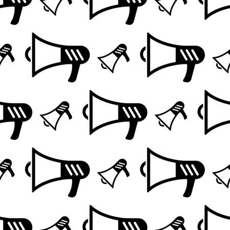 Megaphone Icon Seamless Pattern, Megaphone Vector Art Illustration Vettoriali
