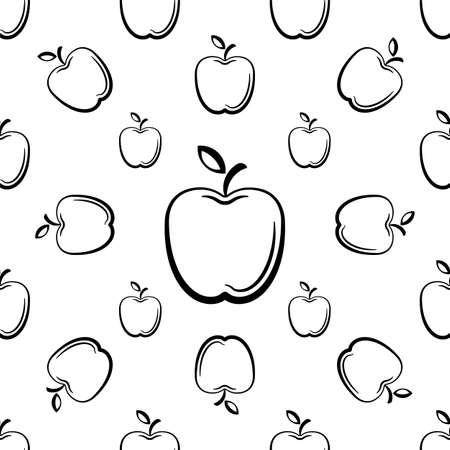 Apple Icon Seamless Pattern, Fruit / Food Icon Vector Art Illustration