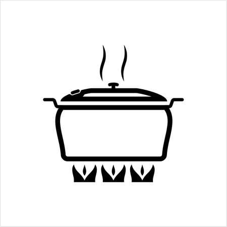 Pan Heating Icon, Frying Pan On Fire Icon Vector Art Illustration Vector Illustration