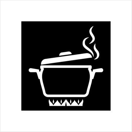 Icône de chauffage de casserole, poêle à frire sur l'icône de feu Vector Art Illustration