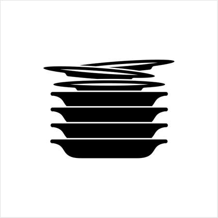 Stack Of Food Plates Icon Vector Art Illustration