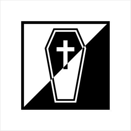 Coffin Icon, Coffin Design Vector Art Illustration