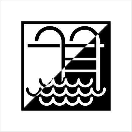 Swimming Pool Ladder Icon Vector Art Illustration