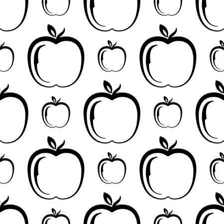 Apple Icon Seamless Pattern, Fruit or Food Icon Vector Art Illustration Vektorové ilustrace