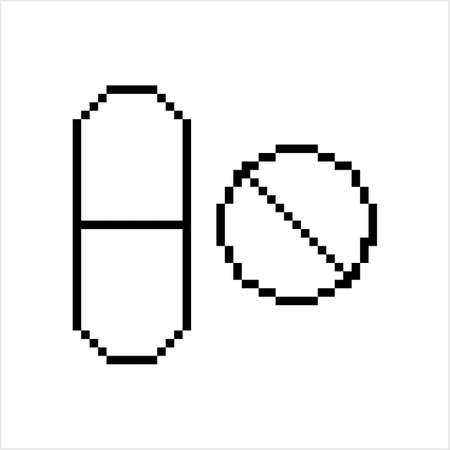 Capsule Pills Icon Pixel Art, Pixelated Form Vector Art Illustration