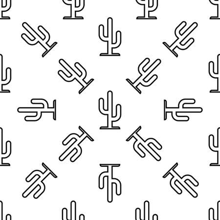 Cactus Icon Seamless Pattern, Cactus Plant Icon Vector Art Illustration Vectores