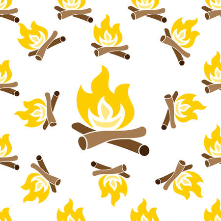 Campfire Icon Seamless Pattern, Camp Fire Vector Art Illustration