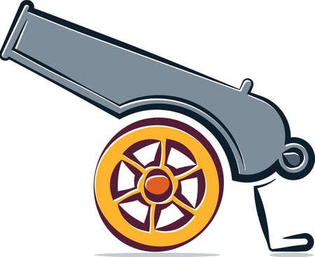 Cannon Icon, Weapon Icon, Old Style Vector Art Illustration