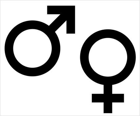 Gender Symbol Icon, Male Female Biological Sex Symbol Icon Vector Art Illustration 일러스트