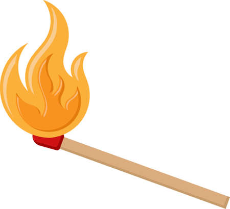 Lit Matchstick, Burning Matchstick Vector Art Illustration