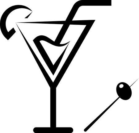 Cocktail Icon, Cocktail Vector Art Illustration