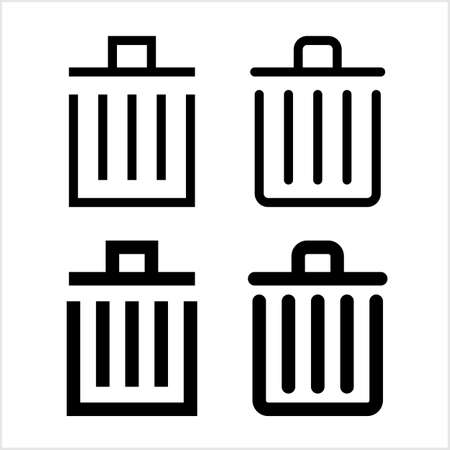 Trash Can Icon Vector Art Illustration Stock fotó - 127713590