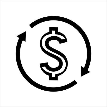 Money Change Icon, Currency Change Icon Vector Art Illustration Stock Illustratie