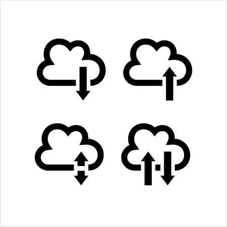Cloud Data Icon, Upload Download Store Data Vector Art Illustration