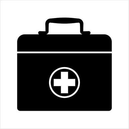 Doctor Bag Icon, First Aid Box Icon Vector Art Illustration Stock Illustratie