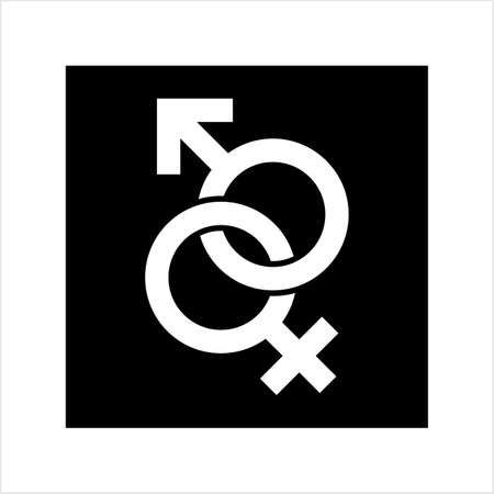 Gender Symbol Icon, Male Female Biological Sex Symbol Icon Vector Art Illustration Illustration