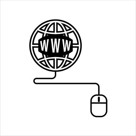 Go To Web, Mouse, Globe Icon, Vector Art Illustration