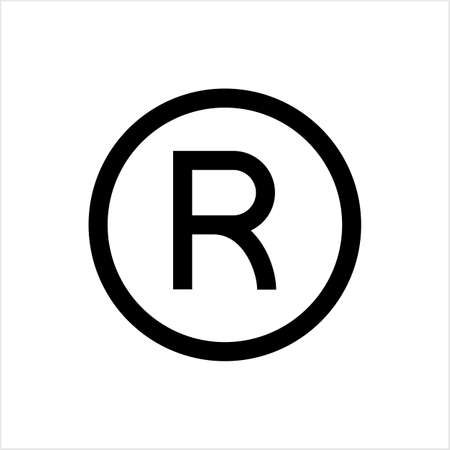 Registered Trademark Icon, Letter R Symbol Vector Art Illustration Ilustração