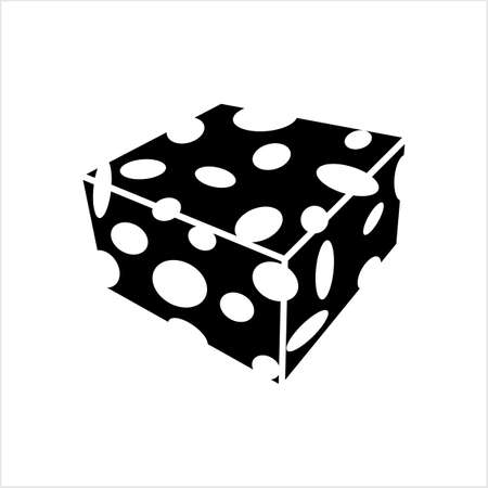 Cheese Icon, Line Art Design, Vector Art Illustration