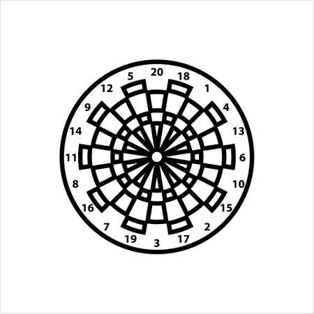 Dart Board Icon, Dartboard Icon Vector Art Illustration